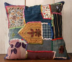 Bohemeian pillow patched with vintage japanese fabrics, indigos, tweed by etsy artist, Lambert.
