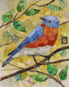 'Summer Bird' PAPER COLLAGE - by Crystal Manning