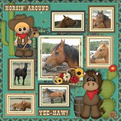 """Lil' Cowpokes by BoomersGirl Designs available at http://store.gingerscraps.net/Lil-Cowpokes-BGD.html makes me want to yell """"Yeehaw!"""".  The cutest little cowboys and cowgirls, pretty papers and a lovely colour scheme add to the delight of this kit!  Template A Beautiful Life by LissyKay Designs."""