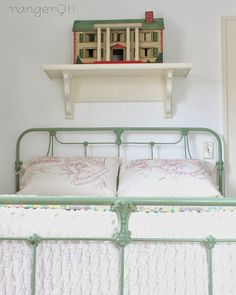 I've been thinking of painting our bed a color instead of white. Also, the dollhouse love goes without saying right?