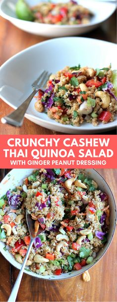 Salad is my go-to lunch choice so I knew this quinoa salad would hit the spot! I love that the recipe is filled with loads of healthy goodness: carrots cabbage quinoa cilantro cashews red pepper and onion. If you want to serve with a protein baked Quinoa Salad Recipes, Vegetarian Recipes, Cooking Recipes, Healthy Recipes, Red Quinoa Salad, Quinoa Power Salad Recipe, Quoina Recipes, Cashew Recipes, Cilantro Recipes