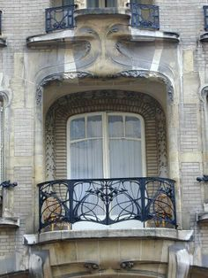 Paris, France: Hotel Mezza, 60 Rue La Fontaine: window (1911, architect Hector Guimard)