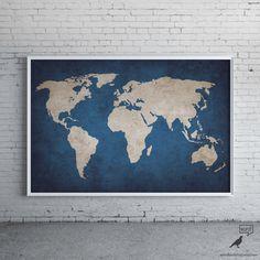 Navy Blue Rustic World Map Print Old World Map Indigo Cobalt Blue Large World…                                                                                                                                                                                 Más
