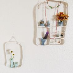 Hanging Porcelain wall/window boxes with flower bud vases and/or Jewellery display. Each one is unique with colour/design variations. Ceramic Studio, Porcelain Jewelry, Window Boxes, Carat Gold, Bud Vases, Jewellery Display, Ladder Decor, Ceramics, Silver