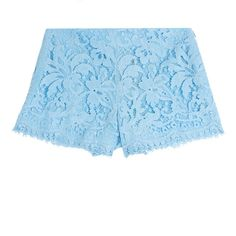 Emilio Pucci Lace Shorts ($290) ❤ liked on Polyvore featuring shorts, bottoms, blue, blue shorts, zipper shorts, scalloped lace shorts, summer shorts and lacy shorts