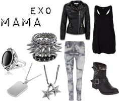 "EXO's ""MAMA"" inspired outfit. Love the black and silver!"