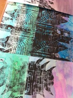 Love the look of the water color behind the print!  From http://beckermiddleart.blogspot.com/2012/05/reflecting-architectural-prints.html