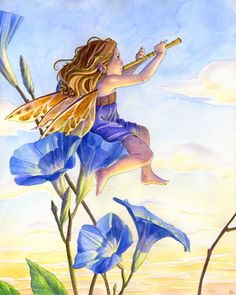 Morning Glories Art Print Fairy playing flute, fantasy, fairytale in watercolor and colored pencil