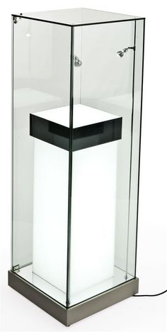 "18"" Glass Display Case w/ 36"" Illuminated Pedestal, Hinged Door, Mirror Deck - Silver"