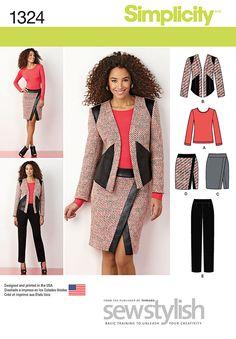 "S1324 - Misses' Slim Pants(1-3/4,7""zipper), Skirt (1-3/8, 7""zipper), Jacket (1-5/8, 1/2contrast 1-3/4 lining) & Knit Top (1-5/8)"