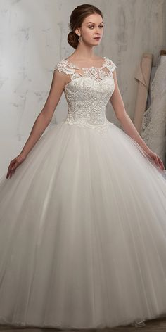 Attractive Tulle Scoop Neckline Ball Gown Wedding Dress With Beaded Lace Appliques