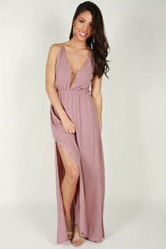 060e8b02198a Back For Me Maxi Dress In Dusty Purple Simple Sandals
