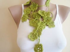 Handmade lariat scarf. new fashion, 2012 trends, green accessories, Summer trends. $18.00, via Etsy.