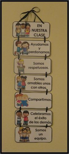 In Our Classroom: Classroom Expectations in English and Spanish Classroom Expectations in English and Spanish. 15 cards to choose from in each language.Helpful to build a sense of community . Dual Language Classroom, Bilingual Classroom, Bilingual Education, Classroom Rules, Spanish Classroom, Classroom Organization, Classroom Decor, Spanish Teacher, Teaching Spanish