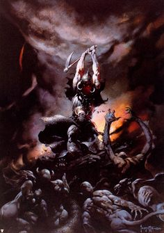Death Dealer by Frank Frazetta (I'm unsure if this is the original because he changed it way back)