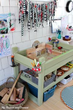 An at home kids' tinker space on a zero dollar budget.