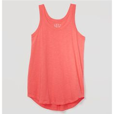 LOFT Vintage Soft Racerback Tank ($17) ❤ liked on Polyvore featuring tops, neon coral, neon racerback tank, red tank top, scoop neck tank, racerback tank and vintage tank top