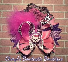 Large Monster High Twisted boutique bow with Hot pink Marabou feathers  and Lace by CherylsBowtasticBows