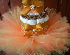 Tutu Diaper Cake Girl Diaper Cake Couture Fancy by ItsUpInTheAttic