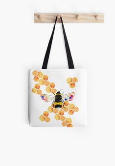 'Floral HoneyComb' Tote Bag by amayabrydon Iphone Wallet, Iphone Cases, Bee Illustration, Transparent Stickers, Honeycomb, Sell Your Art, Cotton Tote Bags, Pouches, Shopping Bag
