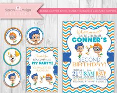 "Bubble Guppies Modern Chevron Invitation, Thank You & Cupcake Toppers - Invite - ""5 x 7"" - Instant Download"