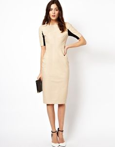 ASOS Leather Half Sleeve Midi Dress