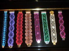 Lace Bracelet, Beaded Bracelets, Bobbin Lacemaking, Lace Art, Tatting Lace, Lace Making, Wedding Jewelry, Beads, How To Make