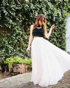 White Tulle Maxi Skirt,Sydne Style Tulle Maxi Skirt