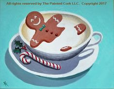 View All Painting Class Portfolio Pieces of The Painted Cork Gingerbread Latte, Sip N Paint, Winter Painting, Paint Party, Art Studios, Painting Inspiration, Dog Bowls, Cork, Ideas