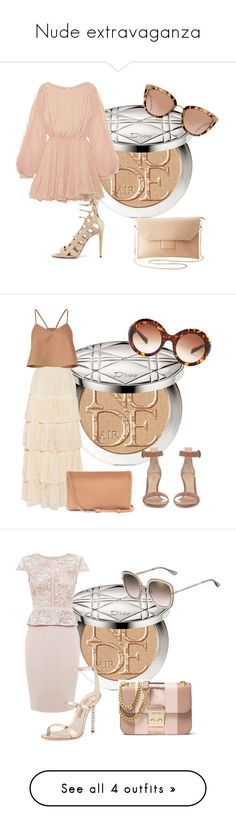 """Nude extravaganza"" by sofiacalo ❤ liked on Polyvore featuring Christian Dior, LoveShackFancy, Charlotte Russe, Gucci, Christian Louboutin, TIBI, Dolce&Gabbana, Gianvito Rossi, MICHAEL Michael Kors and Sophia Webster"