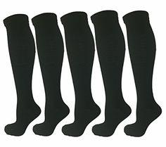 5 Pair Black Small/Medium Ladies Compression Socks, Moderate/Medium Compression 15-20mmHg. Therapeutic, Occupational, Travel & Flight Knee High Socks. Women's Shoe Sizes 6-10, Men's Sizes 5-9