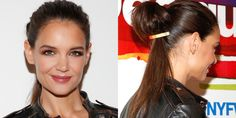 Who: Katie Holmes What: A Pinned Ponytail How-To: For those times when you can't settle on a bun or a ponytail, so you don't pull your hair all the way through on the last wrap of the elastic, here's a new and improved way: Make a ponytail, divide it in half, pin with a chic gold clip.  Editor's Pick: Alterna Bamboo Silk-Sleek Brilliance Cream, $24, sephora.com.   - HarpersBAZAAR.com
