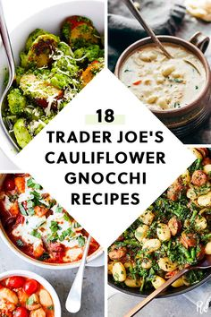 18 Recipes You Can Make with Trader Joe's Cauliflower Gnocchi purewow dinner cooking shopping food recipe pasta traderjoes traderjoesrecipes cauliflowerrecipes gnocchi cauliflowergnocchi 765823111614663784 Mexican Food Recipes, Vegetarian Recipes, Healthy Recipes, Trader Joes Vegetarian, Gluten Free Trader Joes, Vegetarian Cauliflower Recipes, Fast Recipes, Vegetarian Cooking, Healthy Cooking