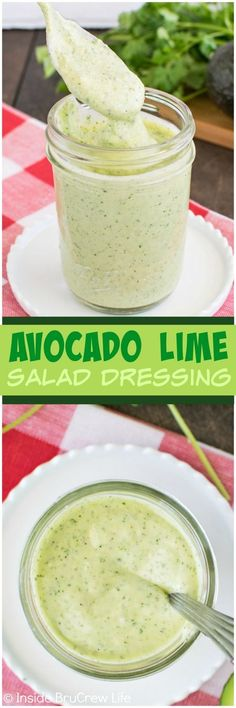 Avocado Lime Salad Dressing - this homemade dressing recipe is easy to make from a few ingredients. Great for dinner salads or veggies. To make vegan- sub non-dairy yogurt! Lime Salad Dressing, Salad Dressing Recipes, Avocado Dressing, Vingerette Dressing, Homemade Dressing Recipe, Homemade Healthy Salad Dressing, Healthy Salad Dressings, Easy Salads, Clean Eating Recipes