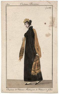 1038 ~ Chapeau de velours, Redingote de velours, a fichu... velvet dress with paisley shawl
