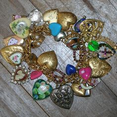 Vintage Puffy Hearts Heart Charm Bracelet Guilloche Rhinestone Hello Kitty Glass