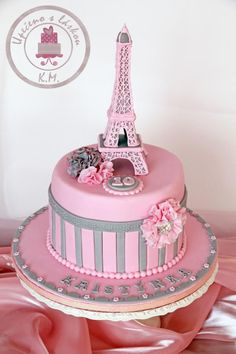I have made this cake for 10 th Birthday of my friend´s daughter. I love pink &gray colour, so finally I could use it! it´s great combination for this theme. I really love making this cake. The Eiffel tower is made from fondant – out of Paris Birthday Cakes, Paris Themed Cakes, Bolo Paris, Cake Paris, Parisian Cake, Eiffel Tower Cake, Different Cakes, Just Cakes, Girl Cakes