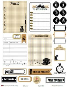 Free Vintage Office Supply {2} Journal Cards and Elements from Vintage Glam…