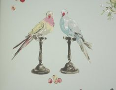 Perroquet Wallpaper Duck egg wallpaper with cute parrot and rose design