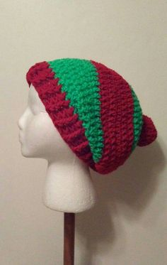 Check out this item in my Etsy shop https://www.etsy.com/listing/490029267/red-and-green-crochet-slouchy-beanie-red