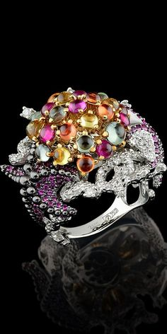 Master Exclusive Jewellery, Ocean's secrets collection, ring, diamonds, rubies, coloured sapphire