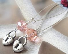 Blushing Pink Crystals Antique Silver 2 Sided by OceanaireDreamer
