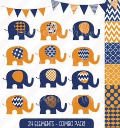Elephant Clip Art Combo Pack - Baby Elephant - Navy & Orange - Digital Papers - Bunting and Flags - Commercial Use by igivelove on Etsy Make Your Own Invitations, Paper Bunting, Elephant Illustration, Crisp Image, Blog Design, Baby Elephant, Baby Shower Invitations, Digital Papers, Wall Decals