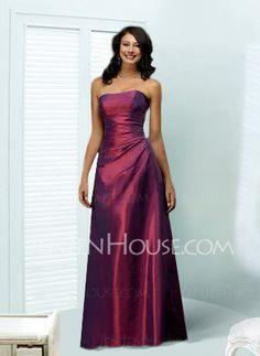 Bridesmaid Dresses - $108.99 - Graceful A-Line/Princess Strapless Floor-Length Taffeta Bridesmaid Dress With Ruffle (007001050) jenjenhouse.com