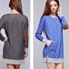 Mini Dress with Elbow Patches❗️Best Seller Sale❗️ Mini dress features elbow patches and front pockets.  Cut in this dress is looser up top but then starts to come in at the waistband.Small bust measures 48 inches, waist 42, length 31.5. Medium bust measures about 50 inches, waist 44, length 32 inches. Large bust about 52 inches, waist 46, length 33 inches.  XL bust about 54 inches, waist 48, length 33.5 inches. Material is 60% poly and 40% cotton. Price is firm unless bundled. GRAY OR BLUE…