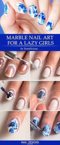 Marble Nails: Easy Way to Create Trendy Manicure ★ See more: https://naildesignsjournal.com/marble-nails-easy-way/ #nails