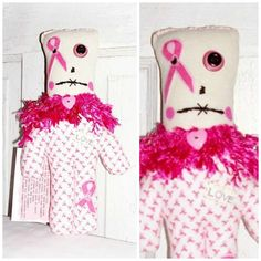 PINK Breast Cancer Dammit Doll Swear Stress by FosterChildWhimsy Dammit Doll, Breast Cancer, Stress, Snoopy, Etsy Shop, Dolls, Trending Outfits, Handmade Gifts, Pink