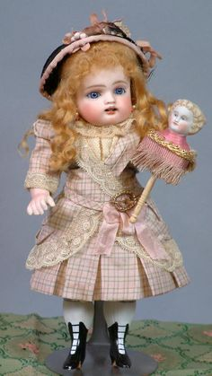 """THE CUTEST Large 8.5"""" Kestner Wrestler Antique Doll With Marotte & from kathylibratysantiques on Ruby Lane"""