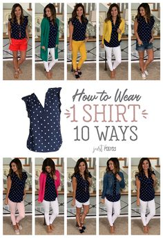 How to Wear One Navy Polka Dot Top Ten Different Ways How to Wear 1 Navy Polka Dot Shirt 10 Different Ways - This polka dot shirt is so affordable and easy to dress up or down and style in so many differe. Capsule Outfits, Mode Outfits, Fashion Outfits, Capsule Wardrobe Travel, Fall Wardrobe Essentials, Summer Work Outfits, Spring Outfits, Summer Teacher Outfits, Look Fashion