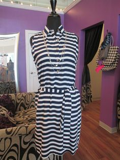 Rock a nautical look with this dress! #ootd #nautical #stripes #dress #fashion #style #MainstreamBoutique